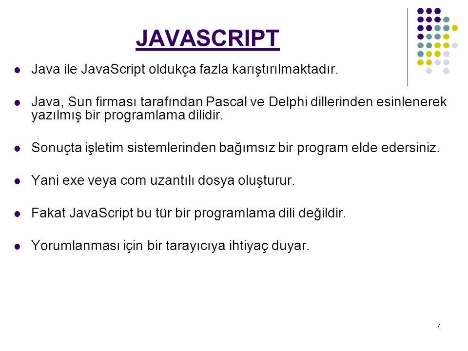 7 JAVASCRIPT Java ile JavaScript oldukça fazla karıştırılmaktadır.