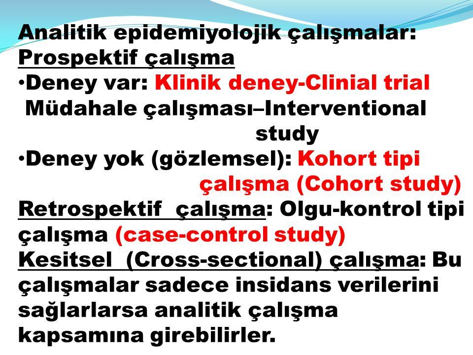 Analitik epidemiyolojik çalışmalar: Prospektif çalışma Deney var: Klinik deney-Clinial trial Müdahale çalışması–Interventional study Deney yok (gözlem