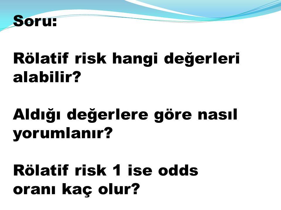 Soru: Rölatif risk hangi değerleri alabilir? Aldığı değerlere göre nasıl yorumlanır? Rölatif risk 1 ise odds oranı kaç olur?