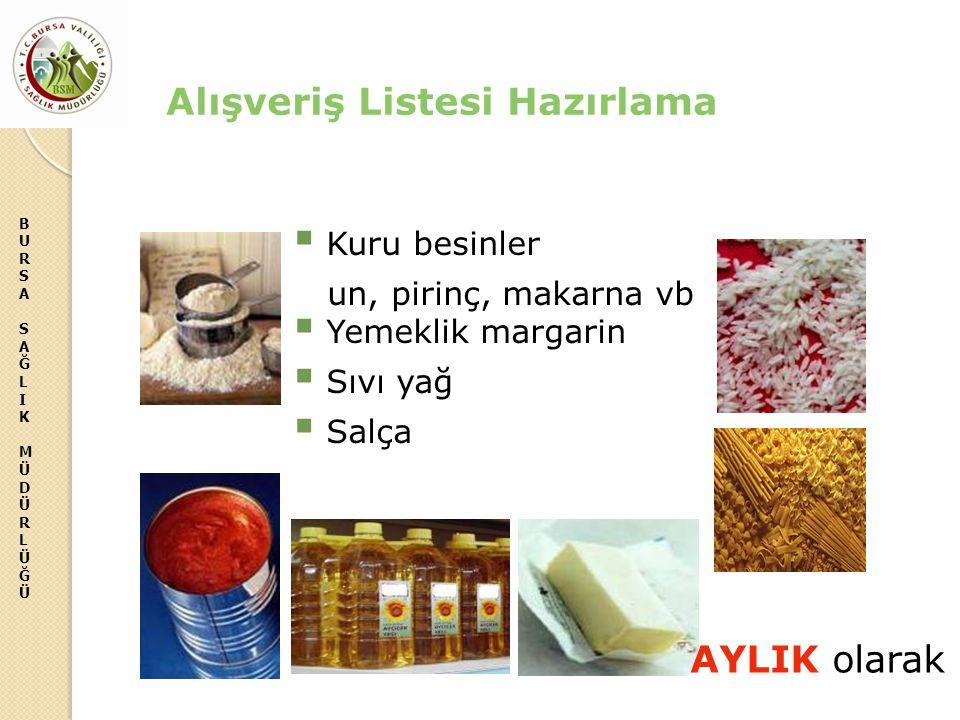 BURSASAĞLIKMÜDÜRLÜĞÜBURSASAĞLIKMÜDÜRLÜĞÜ Alışveriş Listesi Hazırlama  Kuru besinler un, pirinç, makarna vb  Yemeklik margarin  Sıvı yağ  Salça AYL