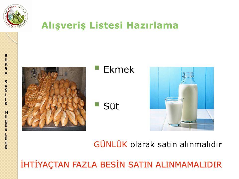 BURSASAĞLIKMÜDÜRLÜĞÜBURSASAĞLIKMÜDÜRLÜĞÜ  Ekmek  Süt GÜNLÜK olarak satın alınmalıdır Alışveriş Listesi Hazırlama İHTİYAÇTAN FAZLA BESİN SATIN ALINMA