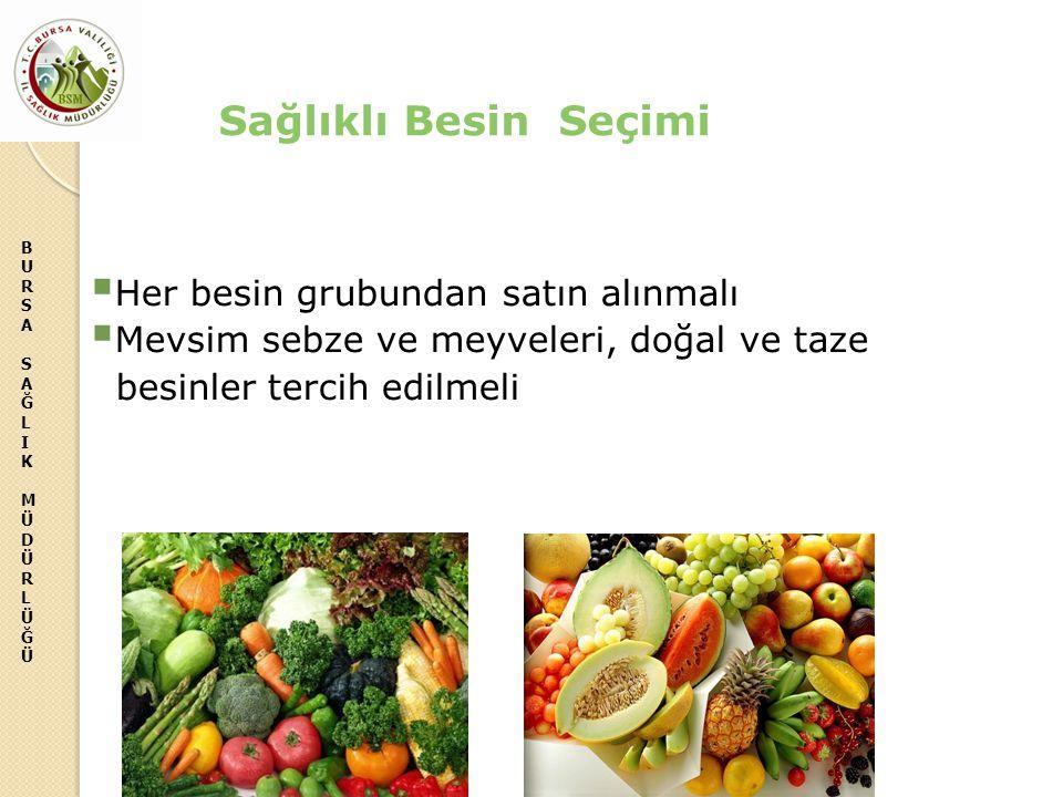 BURSASAĞLIKMÜDÜRLÜĞÜBURSASAĞLIKMÜDÜRLÜĞÜ Sağlıklı Besin Seçimi  Her besin grubundan satın alınmalı  Mevsim sebze ve meyveleri, doğal ve taze besinle
