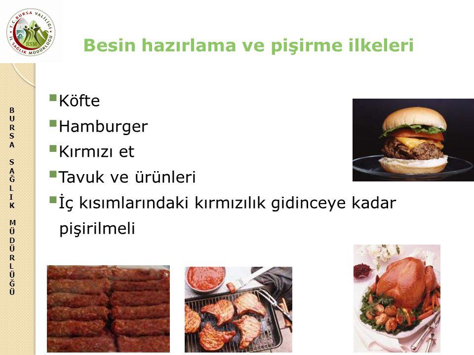 BURSASAĞLIKMÜDÜRLÜĞÜBURSASAĞLIKMÜDÜRLÜĞÜ  Köfte  Hamburger  Kırmızı et  Tavuk ve ürünleri  İç kısımlarındaki kırmızılık gidinceye kadar pişirilme