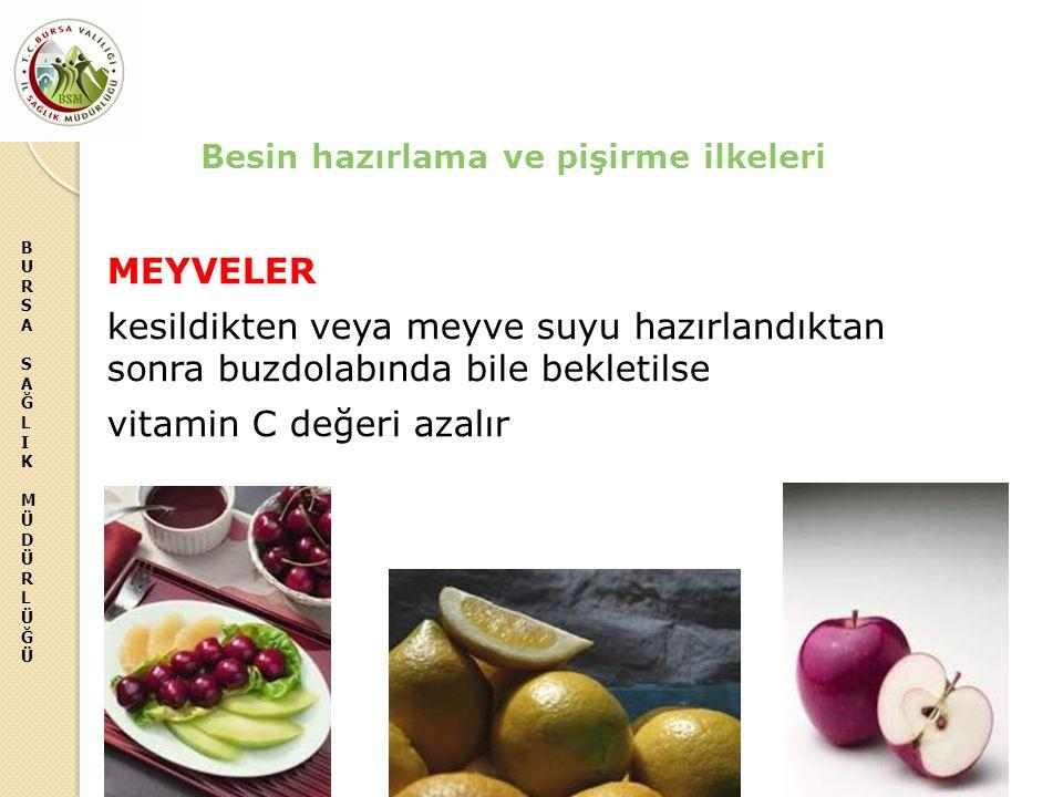 BURSASAĞLIKMÜDÜRLÜĞÜBURSASAĞLIKMÜDÜRLÜĞÜ MEYVELER kesildikten veya meyve suyu hazırlandıktan sonra buzdolabında bile bekletilse vitamin C değeri azalı