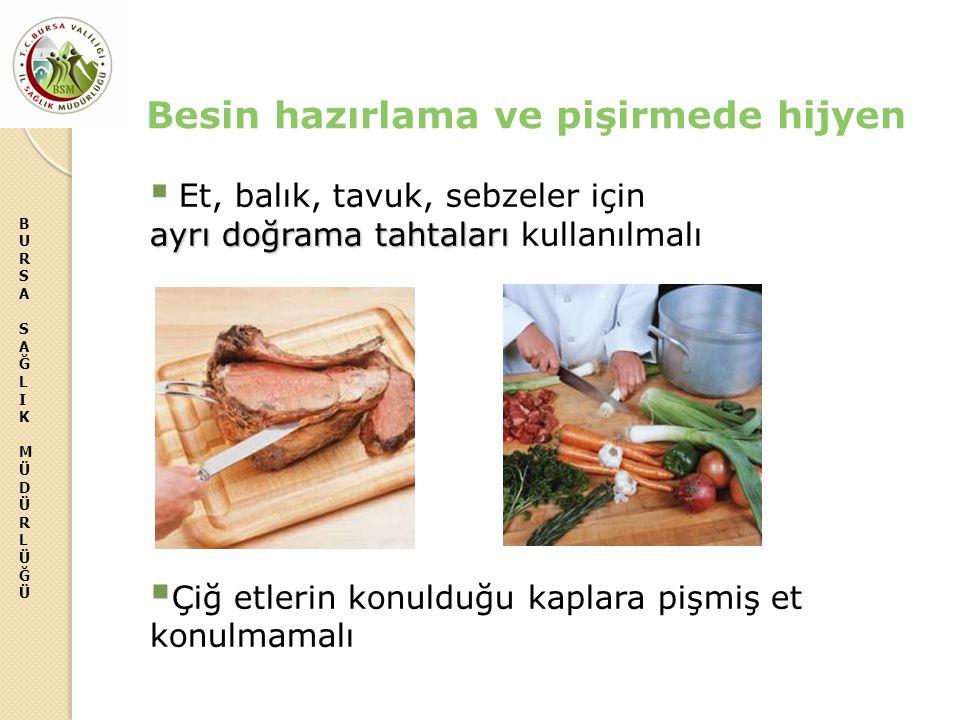 BURSASAĞLIKMÜDÜRLÜĞÜBURSASAĞLIKMÜDÜRLÜĞÜ ayrı doğrama tahtaları  Et, balık, tavuk, sebzeler için ayrı doğrama tahtaları kullanılmalı  Çiğ etlerin ko