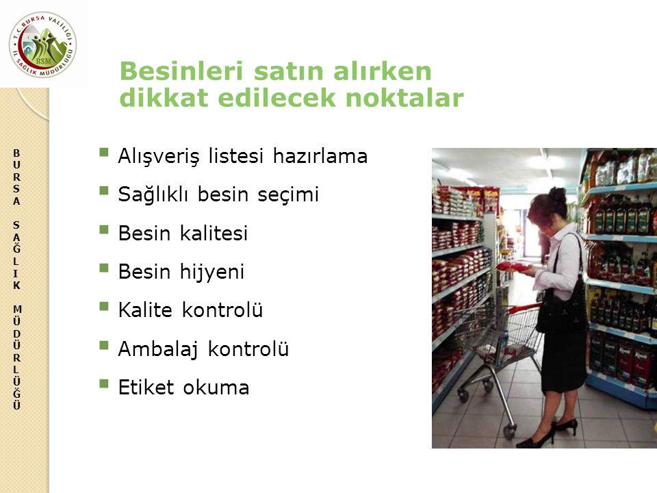 BURSASAĞLIKMÜDÜRLÜĞÜBURSASAĞLIKMÜDÜRLÜĞÜ Besinleri satın alırken dikkat edilecek noktalar  Alışveriş listesi hazırlama  Sağlıklı besin seçimi  Besi