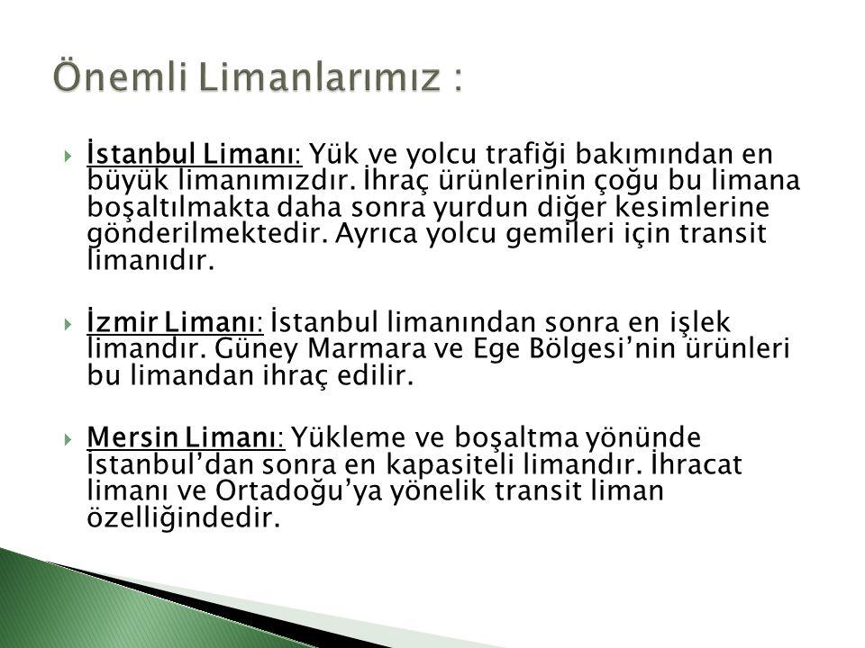  İstanbul Limanı: Yük ve yolcu trafiği bakımından en büyük limanımızdır. İhraç ürünlerinin çoğu bu limana boşaltılmakta daha sonra yurdun diğer kesim