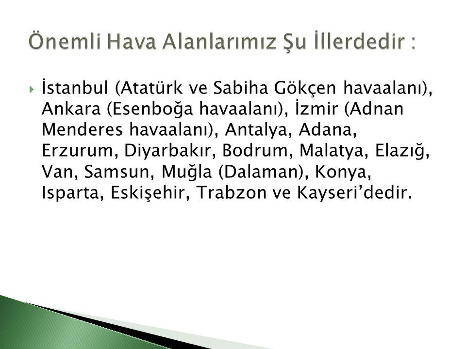  İstanbul (Atatürk ve Sabiha Gökçen havaalanı), Ankara (Esenboğa havaalanı), İzmir (Adnan Menderes havaalanı), Antalya, Adana, Erzurum, Diyarbakır, B