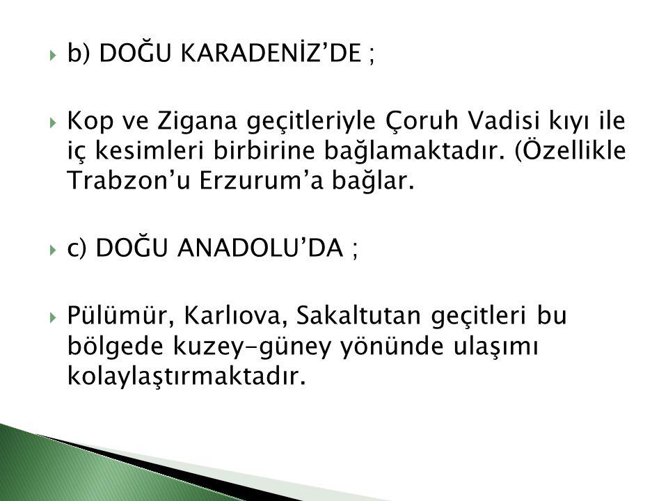  b) DOĞU KARADENİZ'DE ;  Kop ve Zigana geçitleriyle Çoruh Vadisi kıyı ile iç kesimleri birbirine bağlamaktadır. (Özellikle Trabzon'u Erzurum'a bağla