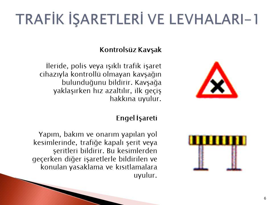 Kontrolsüz Kavşak İleride, polis veya ışıklı trafik işaret cihazıyla kontrollü olmayan kavşağın bulunduğunu bildirir.