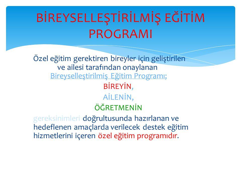 Özel eğitim gerektiren bireyler için geliştirilen ve ailesi tarafından onaylanan Bireyselleştirilmiş Eğitim Programı; BİREYİN, AİLENİN, ÖĞRETMENİN ger