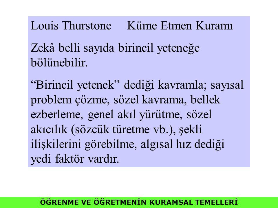 """ÖĞRENME VE ÖĞRETMENİN KURAMSAL TEMELLERİ Louis Thurstone Küme Etmen Kuramı Zekâ belli sayıda birincil yeteneğe bölünebilir. """"Birincil yetenek"""" dediği"""