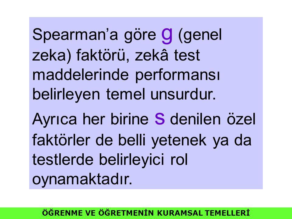 ÖĞRENME VE ÖĞRETMENİN KURAMSAL TEMELLERİ Spearman'a göre g (genel zeka) faktörü, zekâ test maddelerinde performansı belirleyen temel unsurdur. Ayrıca