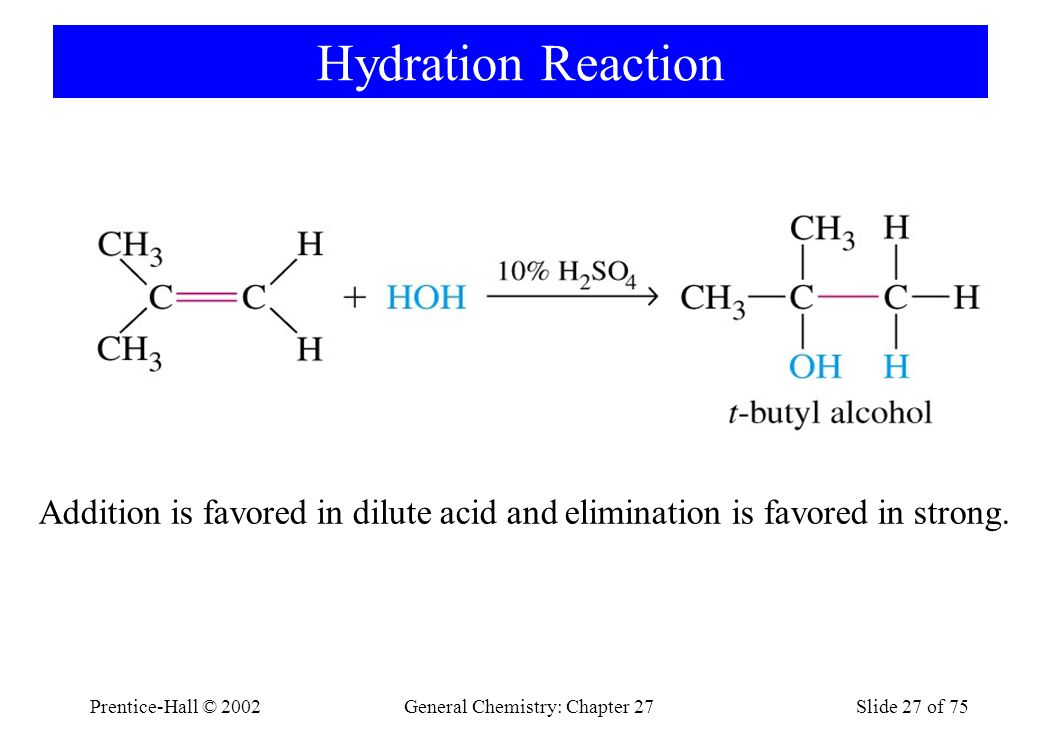 Prentice-Hall © 2002General Chemistry: Chapter 27Slide 27 of 75 Hydration Reaction Addition is favored in dilute acid and elimination is favored in strong.
