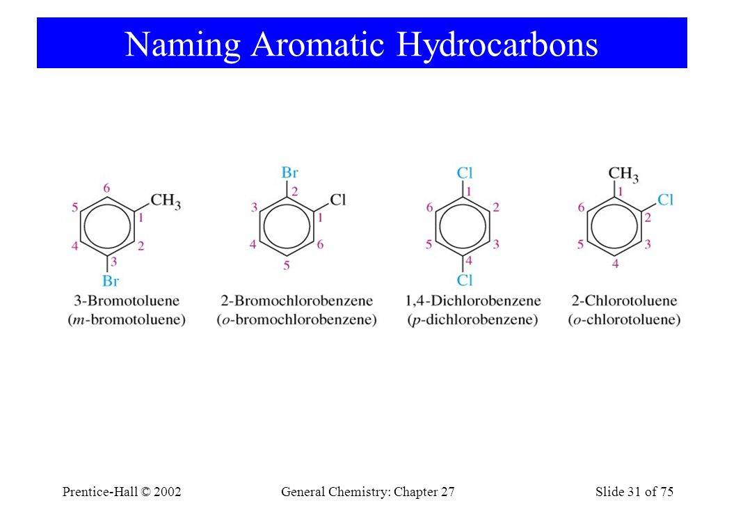 Prentice-Hall © 2002General Chemistry: Chapter 27Slide 31 of 75 Naming Aromatic Hydrocarbons