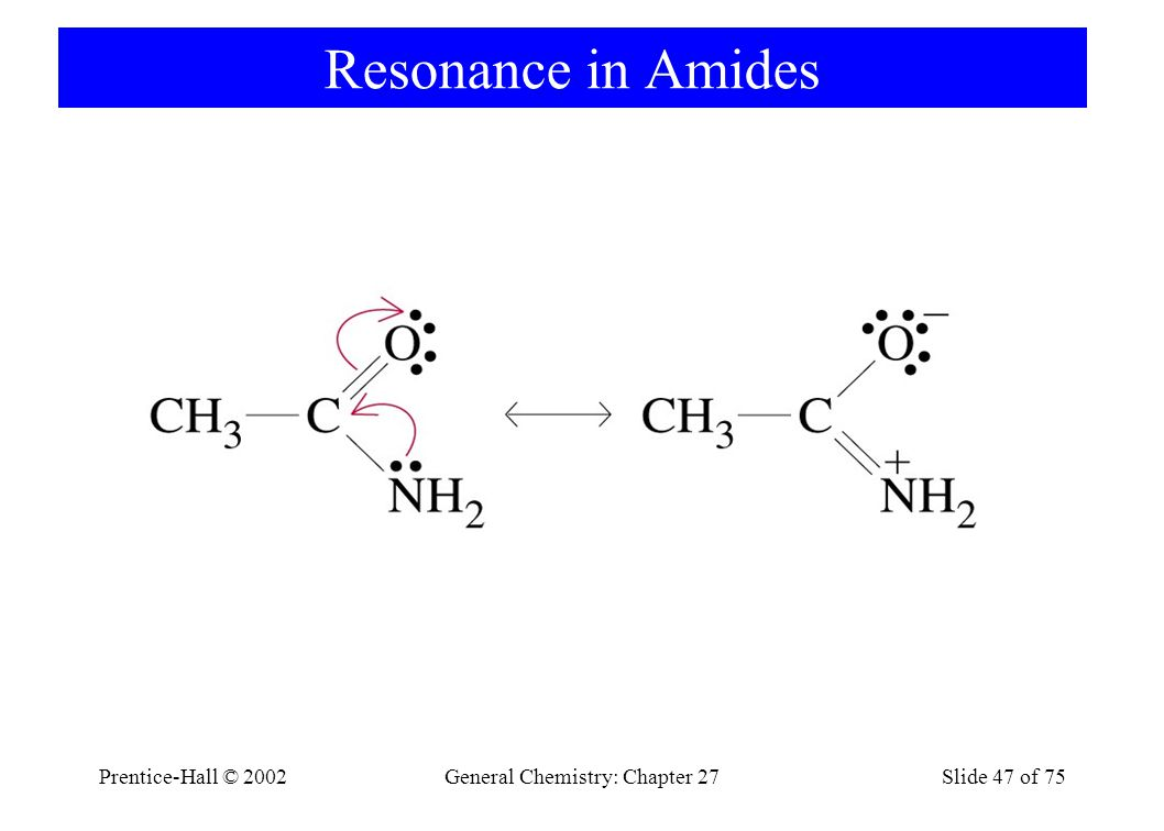 Prentice-Hall © 2002General Chemistry: Chapter 27Slide 47 of 75 Resonance in Amides