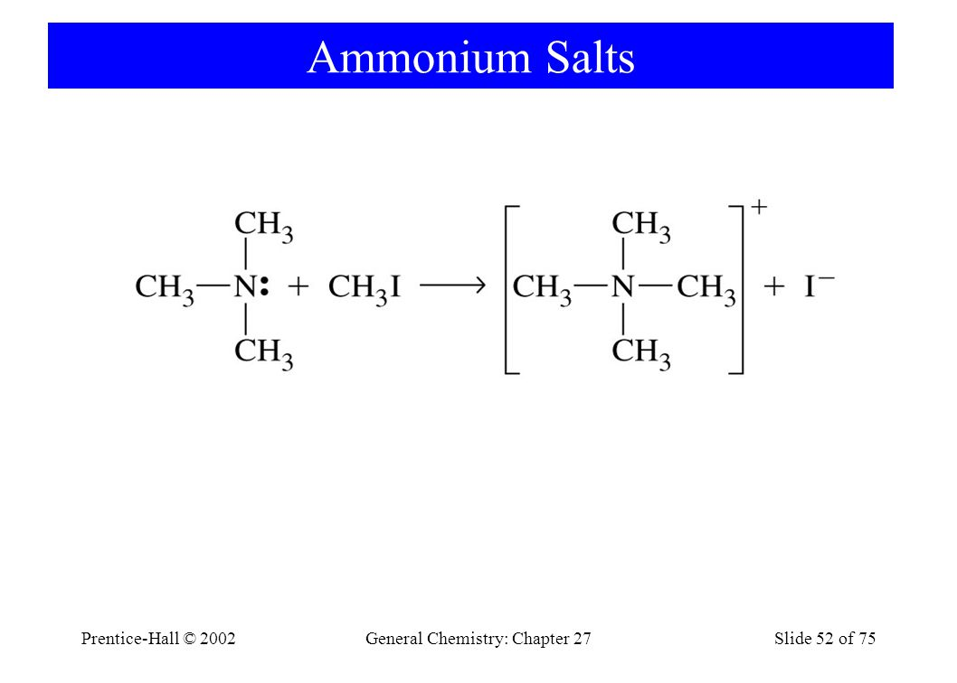Prentice-Hall © 2002General Chemistry: Chapter 27Slide 52 of 75 Ammonium Salts