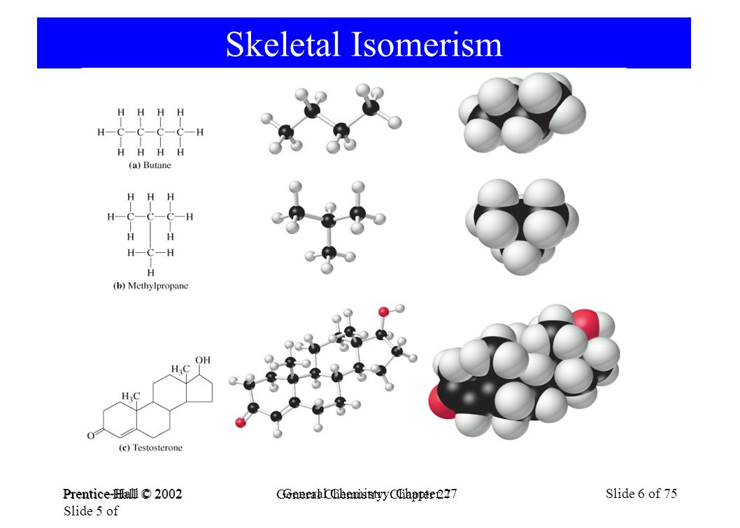 Prentice-Hall © 2002General Chemistry: Chapter 27Slide 6 of 75 Skeletal Isomerism Prentice Hall © 2002 General Chemistry: Chapter 27 Slide 5 of