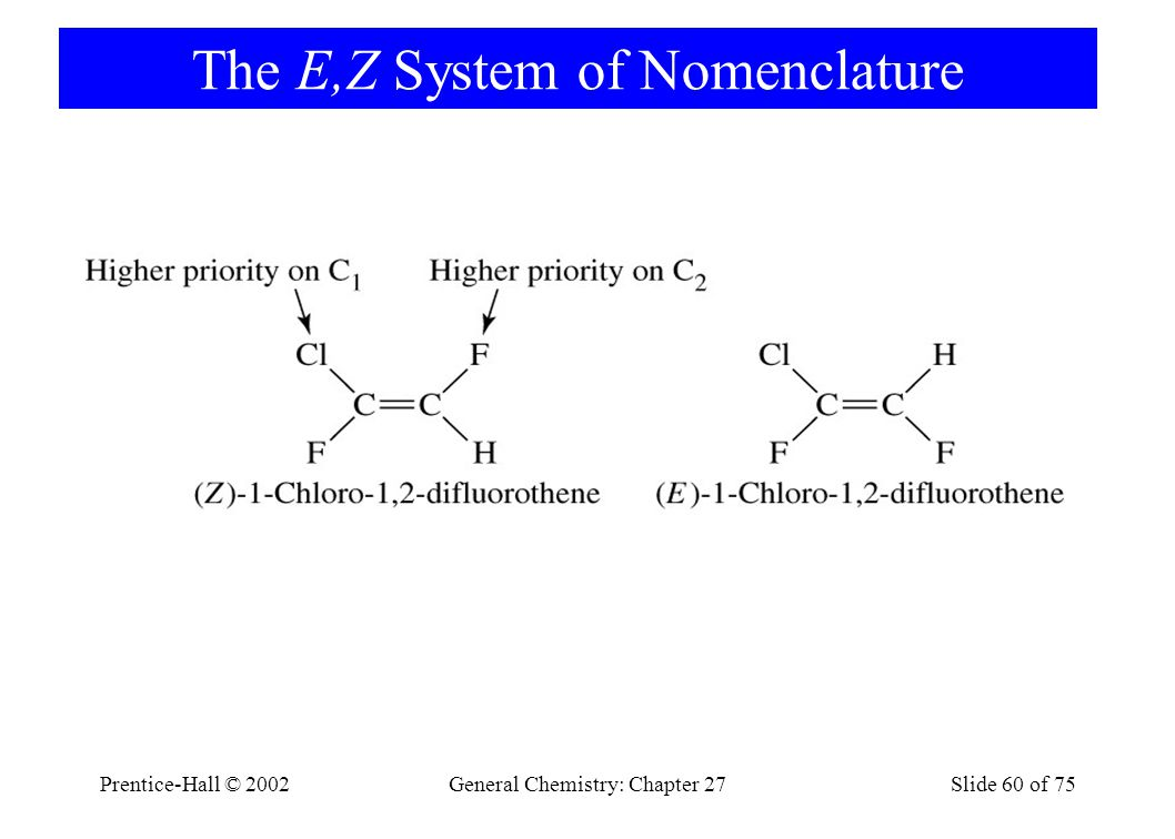 Prentice-Hall © 2002General Chemistry: Chapter 27Slide 60 of 75 The E,Z System of Nomenclature