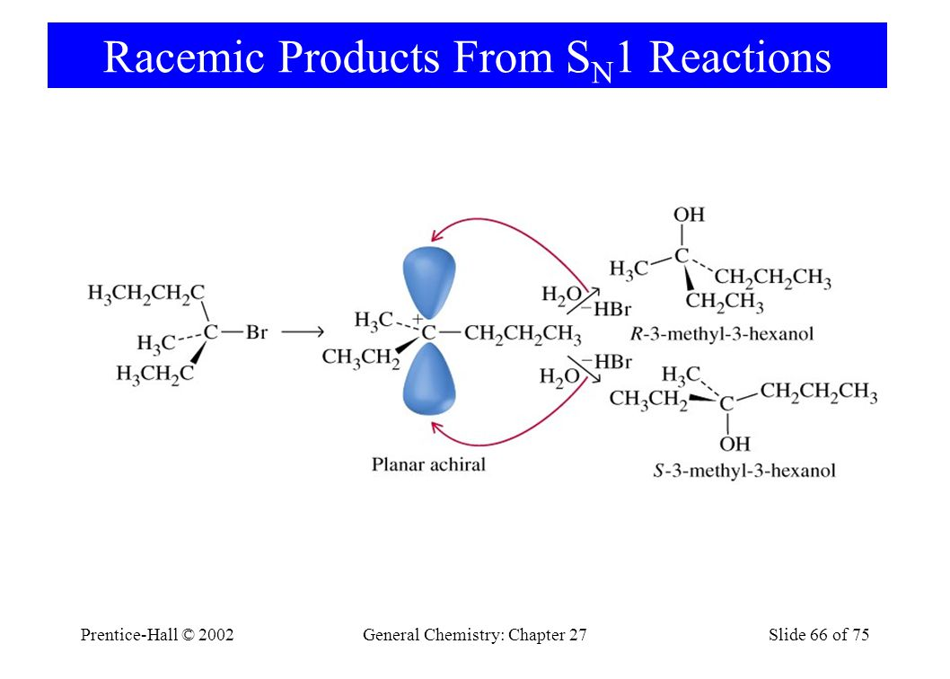 Prentice-Hall © 2002General Chemistry: Chapter 27Slide 66 of 75 Racemic Products From S N 1 Reactions