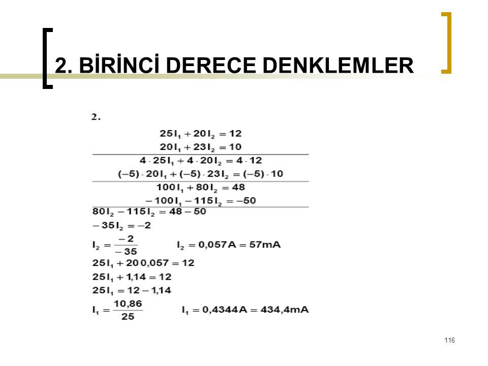 2. BİRİNCİ DERECE DENKLEMLER 116