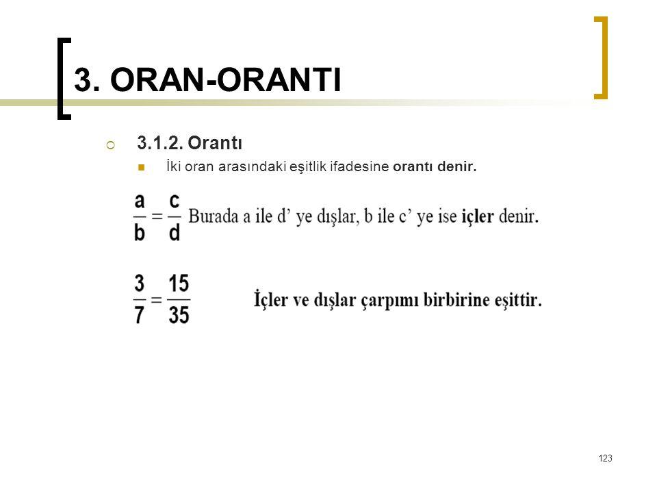 3. ORAN-ORANTI  3.1.2. Orantı İki oran arasındaki eşitlik ifadesine orantı denir. 123