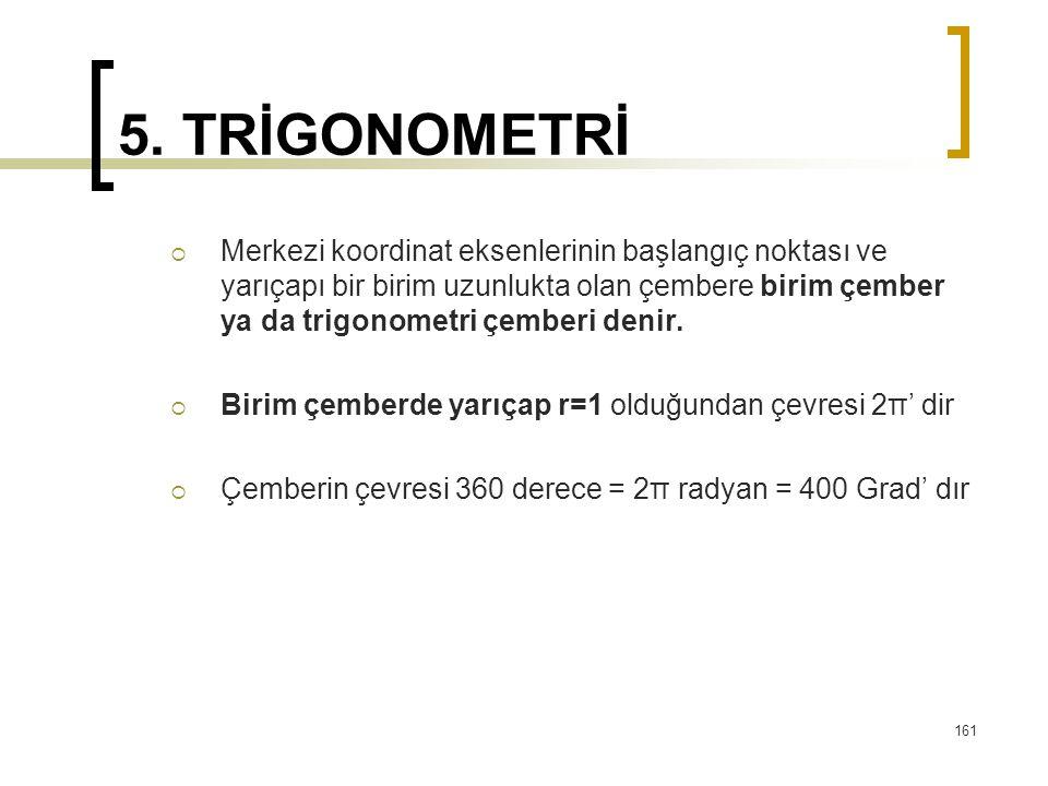 5. TRİGONOMETRİ  Merkezi koordinat eksenlerinin başlangıç noktası ve yarıçapı bir birim uzunlukta olan çembere birim çember ya da trigonometri çember