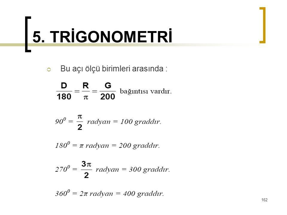 5. TRİGONOMETRİ  Bu açı ölçü birimleri arasında : 162
