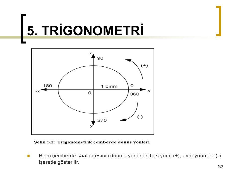5. TRİGONOMETRİ Birim çemberde saat ibresinin dönme yönünün ters yönü (+), aynı yönü ise (-) işaretle gösterilir. 163