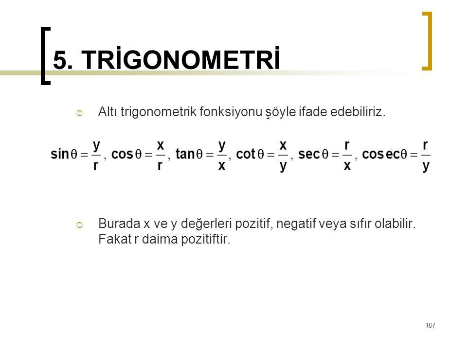 5. TRİGONOMETRİ  Altı trigonometrik fonksiyonu şöyle ifade edebiliriz.  Burada x ve y değerleri pozitif, negatif veya sıfır olabilir. Fakat r daima
