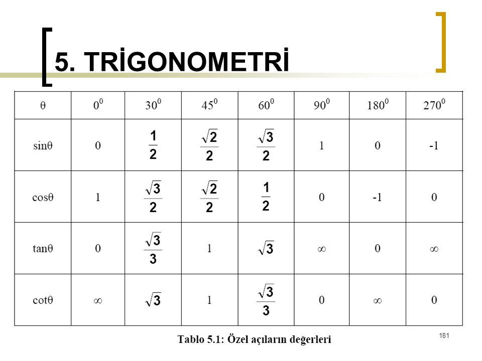 5. TRİGONOMETRİ 181