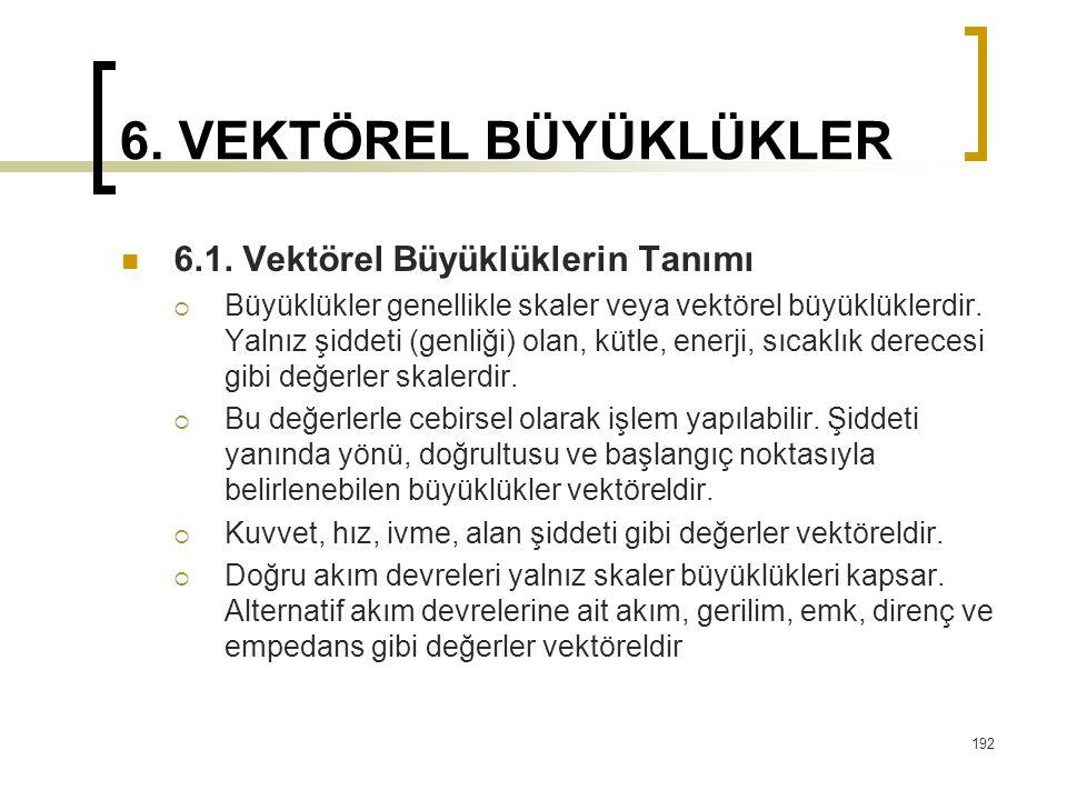 6.VEKTÖREL BÜYÜKLÜKLER 6.1.