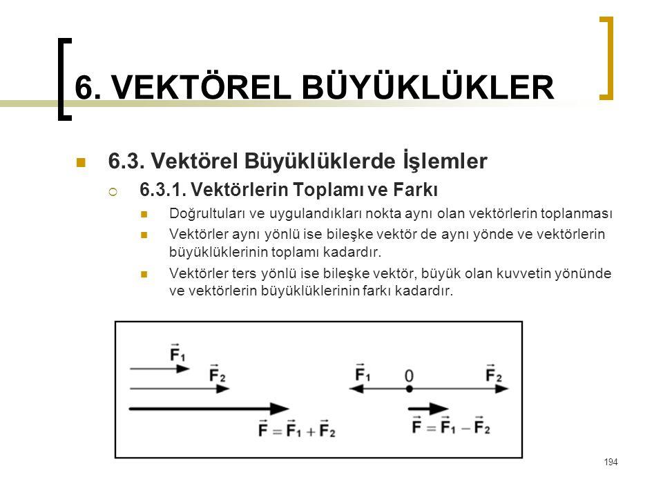 6. VEKTÖREL BÜYÜKLÜKLER 6.3. Vektörel Büyüklüklerde İşlemler  6.3.1. Vektörlerin Toplamı ve Farkı Doğrultuları ve uygulandıkları nokta aynı olan vekt