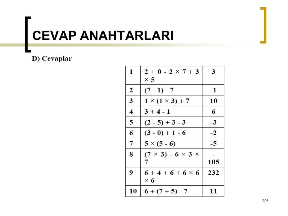 CEVAP ANAHTARLARI  206