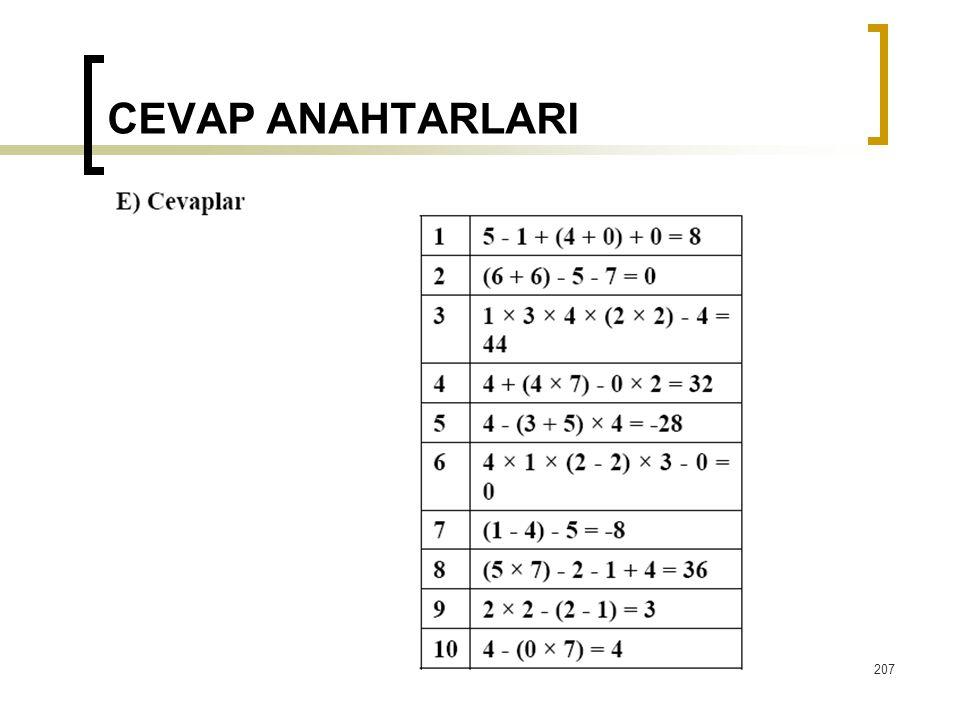 CEVAP ANAHTARLARI  207