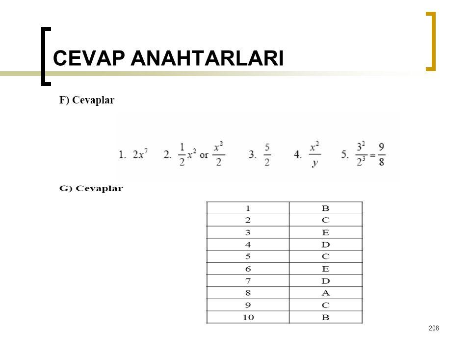 CEVAP ANAHTARLARI  208