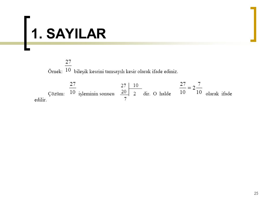 1. SAYILAR 25