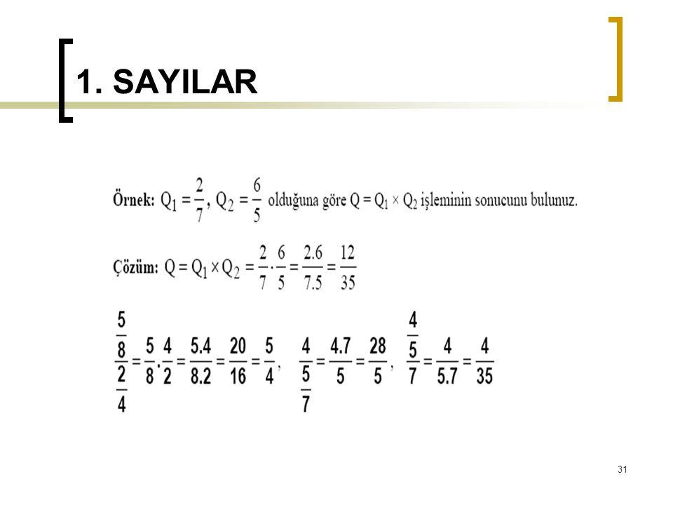 1. SAYILAR 31