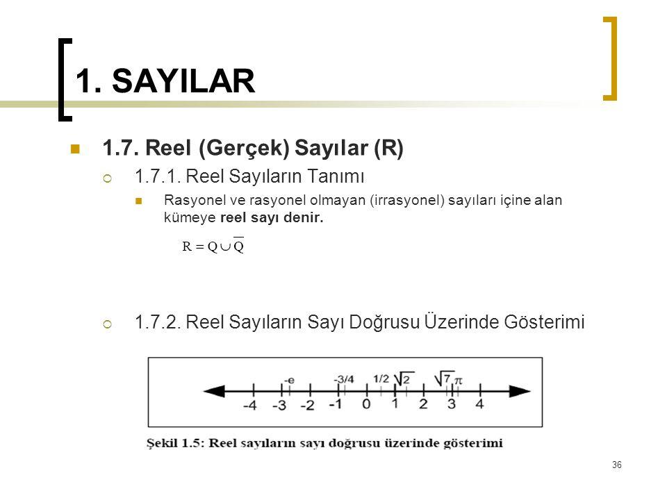 1. SAYILAR 1.7. Reel (Gerçek) Sayılar (R)  1.7.1. Reel Sayıların Tanımı Rasyonel ve rasyonel olmayan (irrasyonel) sayıları içine alan kümeye reel say