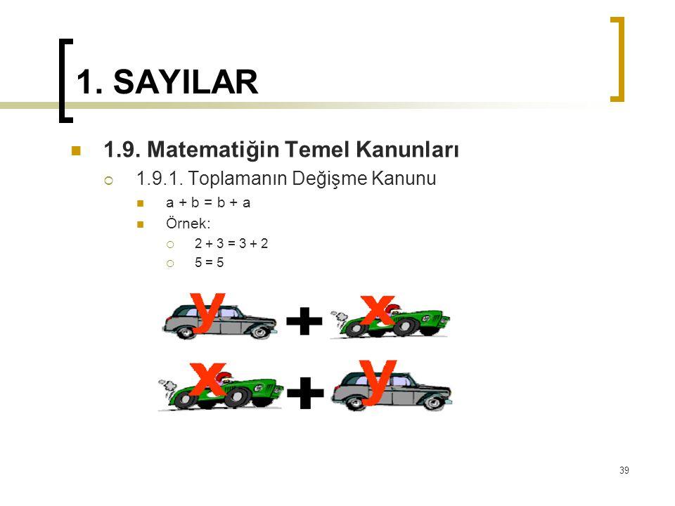 1. SAYILAR 1.9. Matematiğin Temel Kanunları  1.9.1. Toplamanın Değişme Kanunu a + b = b + a Örnek:  2 + 3 = 3 + 2  5 = 5 39