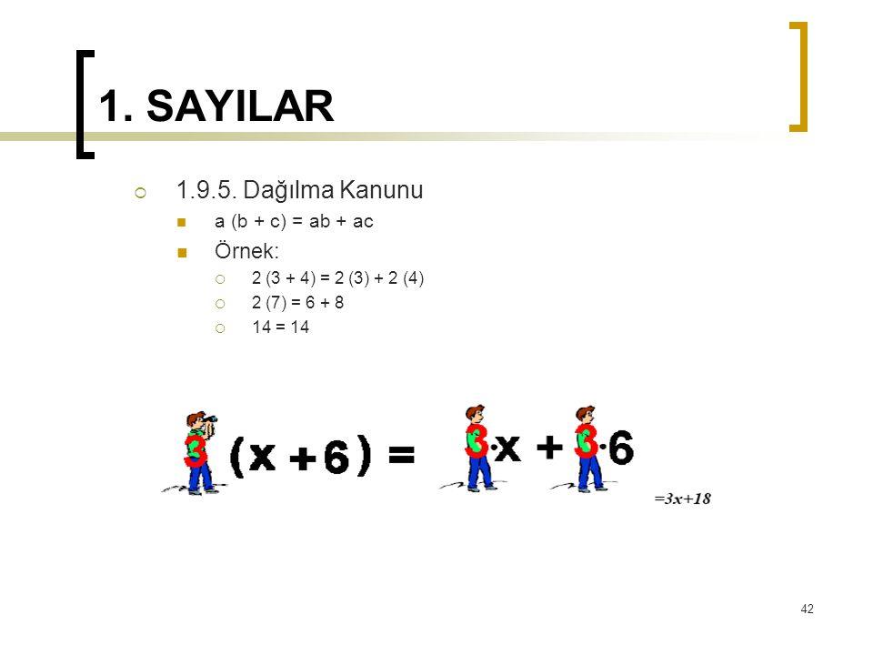 1. SAYILAR  1.9.5. Dağılma Kanunu a (b + c) = ab + ac Örnek:  2 (3 + 4) = 2 (3) + 2 (4)  2 (7) = 6 + 8  14 = 14 42
