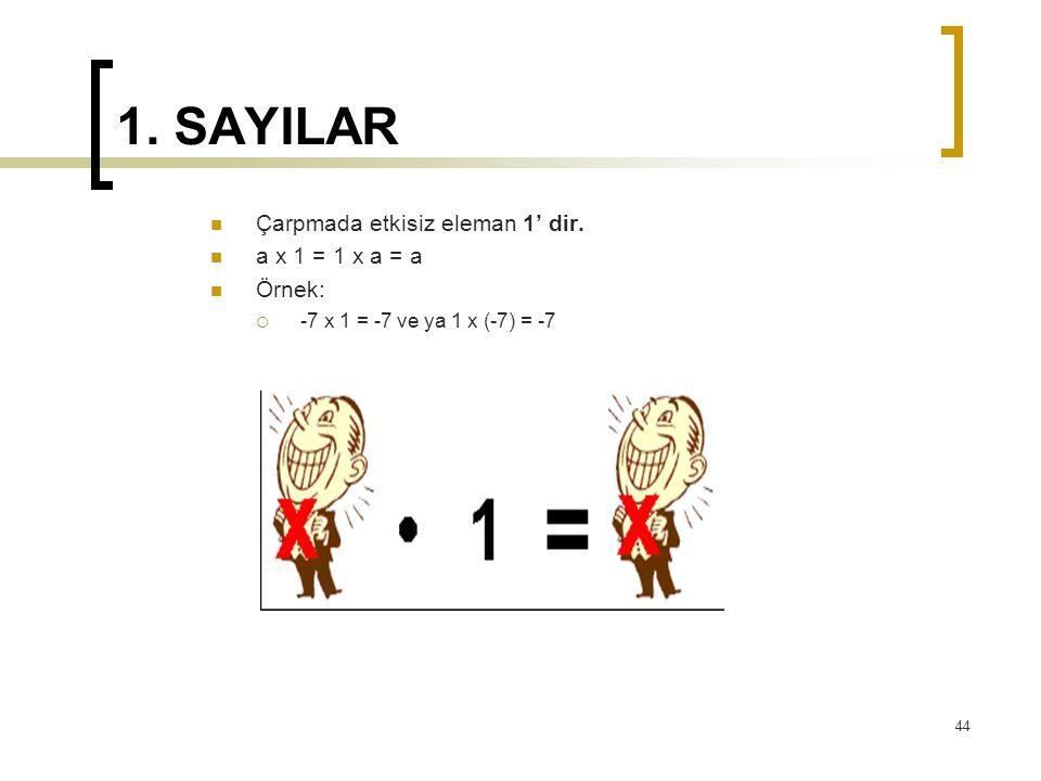 1. SAYILAR Çarpmada etkisiz eleman 1' dir. a x 1 = 1 x a = a Örnek:  -7 x 1 = -7 ve ya 1 x (-7) = -7 44