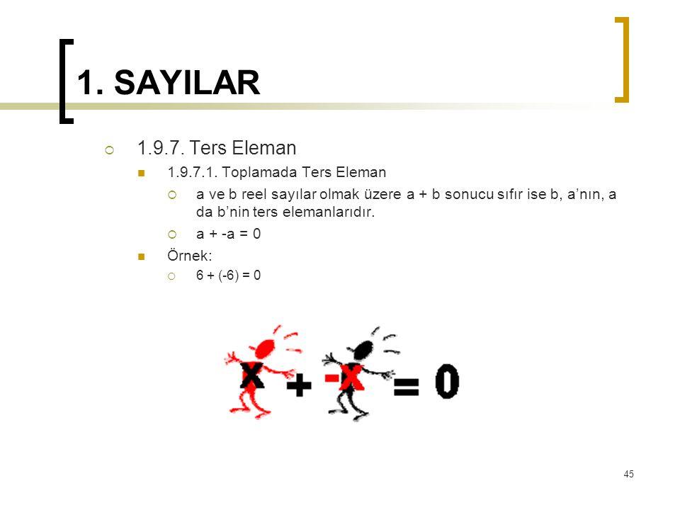 1. SAYILAR  1.9.7. Ters Eleman 1.9.7.1. Toplamada Ters Eleman  a ve b reel sayılar olmak üzere a + b sonucu sıfır ise b, a'nın, a da b'nin ters elem