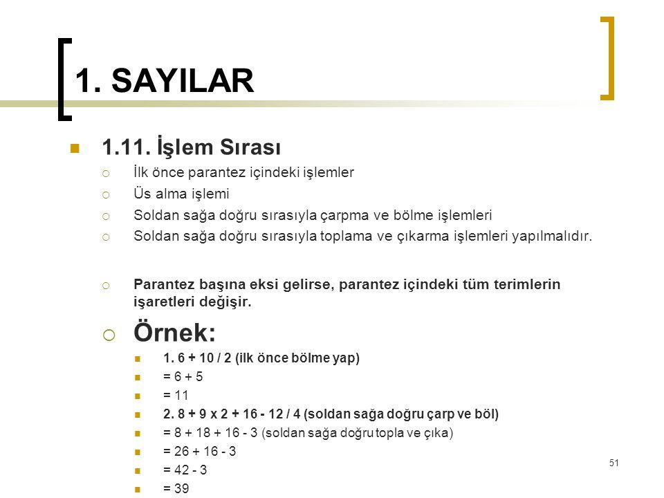 1.SAYILAR 1.11.