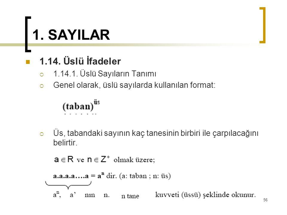 1. SAYILAR 1.14. Üslü İfadeler  1.14.1. Üslü Sayıların Tanımı  Genel olarak, üslü sayılarda kullanılan format:  Üs, tabandaki sayının kaç tanesinin