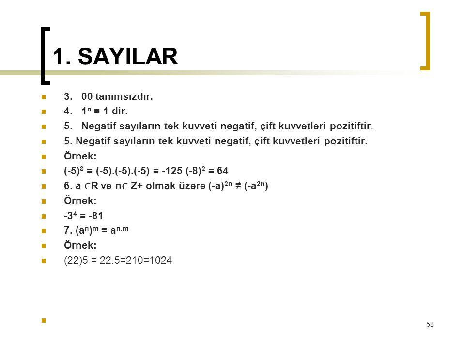 1. SAYILAR 3. 00 tanımsızdır. 4. 1 n = 1 dir. 5. Negatif sayıların tek kuvveti negatif, çift kuvvetleri pozitiftir. Örnek: (-5) 3 = (-5).(-5).(-5) = -
