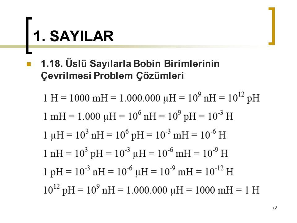 1. SAYILAR 1.18. Üslü Sayılarla Bobin Birimlerinin Çevrilmesi Problem Çözümleri 70