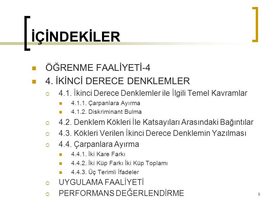4. İKİNCİ DERECE DENKLEMLER 140