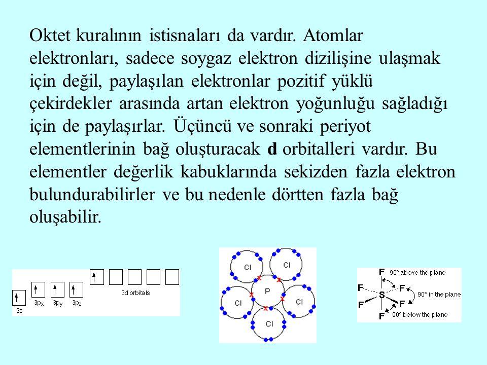 Oktet kuralının istisnaları da vardır. Atomlar elektronları, sadece soygaz elektron dizilişine ulaşmak için değil, paylaşılan elektronlar pozitif yükl