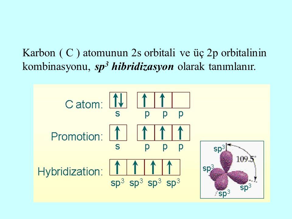 Karbon ( C ) atomunun 2s orbitali ve üç 2p orbitalinin kombinasyonu, sp 3 hibridizasyon olarak tanımlanır.